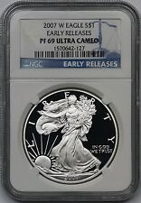 2007-W Early Releases Silver Eagle Dollar $1 PF 69 Ultra Cameo NGC 1 oz Silver