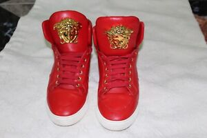 MENS VERSACE RED PALAZZO MEDUSA HIGH TOP LEATHER SNEAKERS SHOES RARE SIZE 41.5