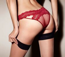 Vintage Agent Provocateur Maillys Red Lace Peep Bum Brief Large AP 4 12-14  BNWT 9661564dd