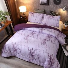 Top Quality Marble Design Quilt Comforter Set Bed-in-a-Bag,Queen (Purple-Marble)