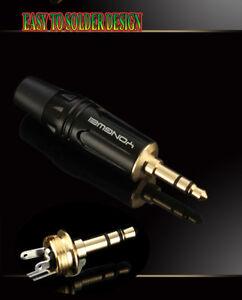 3.5mm 3 Pole Male Gold Repair headphone headset Jack Plug Easy Soldering Design