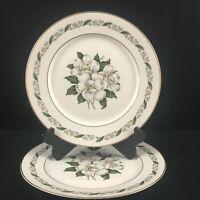Set of 2 VTG Dinner Plates by Royal Jackson Magnolia Floral Vogue Ceramic USA