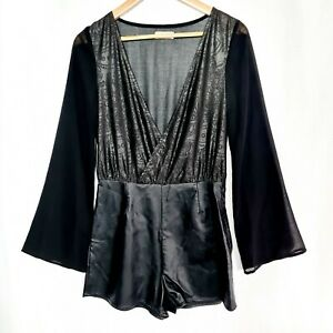 PAINT IT RED Size S Black Sheer Long Sleeve Faux Leather Short Playsuit Romper