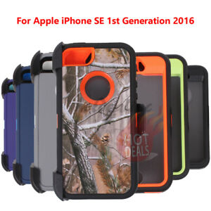 For Apple iPhone SE 1st Generation 2017 Rugged Armed Shockproof With Clip Case
