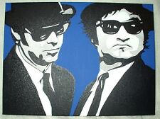 Canvas Painting The Blues Brothers Pose Blue B&W Art 16x12 inch Acrylic