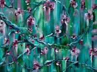 Cherry Blossom Branch Textured Impasto Painting On Canvas Cherry Blossom Tree