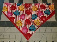 DOG BANDANA Over Collar XS-L KISS ME CANDY HEARTS Valentine's Day Red CLOSEOUT!
