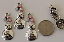 4 Tibetan silver & SMALTO BUON NATALE XMAS SNOWMAN Ciondolo Charms 14x32mm