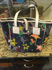 Dooney & Bourke multi-color satchel purse with leather accents