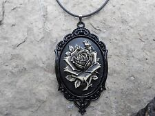 HAND PAINTED ROSE CAMEO NECKLACE--BLACK--STEAMPUNK, GOTH, HALLOWEEN!!!!