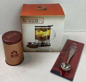 Teavana Perfect Tea Maker Infuser Open Box Tea Brewer 16 oz Spoon Tin READ 21F