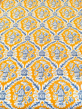Vintage Wallpaper Chinoiserie Gold Yellow Orange Blue Asian Oriental Moitf