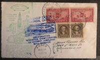 1932 Akron OH USA Goodyear Airship Mail Cover To Indianapolis IN