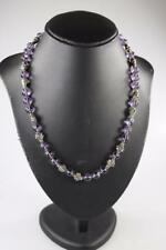 VINTAGE NATURAL AMETHYST BEAD AND STERLING SILVER NECKLACE