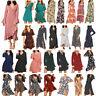 Women Lady Long Sleeves Leopard V-Neck Bandage High Waist Chiffon Fashion Dress