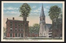 POSTCARD PLATTSBURGH NY/NEW YORK PRESBYTERIAN CHURCH & POST OFFICE 1910'S