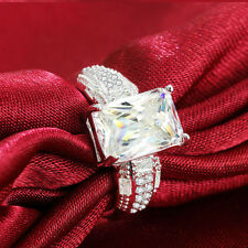 Wedding Bridal Ring Gift Size 7 Fashion White Topaz Birthstone Silver Filled