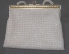Vintage Beaded White Ivory Purse Handbag with Gold Clasp Trim New Years