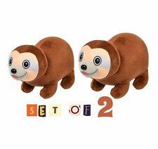 (Set Of 2) 8'' Adorable Brown Sloths Plush Bubble Pet Jungle Stuff Animal Toy