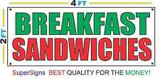 2x4 BREAKFAST SANDWICHES Red White & Green Banner Sign NEW Discount Size & Price