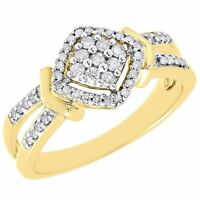 Diamond Engagement Ring Ladies 10K Yellow Gold Round Pave Wedding 1/4 Tcw.
