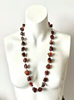 Vintage CHUNKY BOHO Polished Pebble Agate Wire Threaded Long Necklace - 30inch
