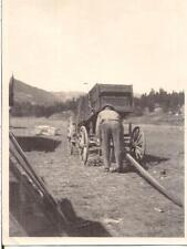 Hardworking Back To Camera Farmer Man By Old Antique Wagon Vintage Photo