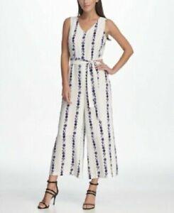 $129 New DKNY Sleeveless Tie Waist Jumpsuit Women's Size 2 NWT