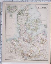1889 large antique map ~ Danemark-Copenhague Islande Féroé Fyen