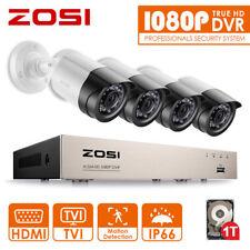 ZOSI 1080P 4CH DVR 4x3000TVL CCTV Camera Outdoor Home Security System 1TB HDD