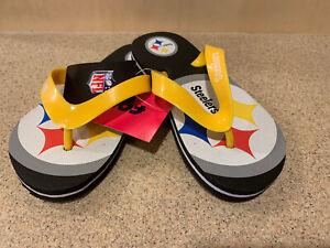 Pittsburgh Steelers NFL Boys' Logo Flip-Flops Youth Medium (1/2) - NWT