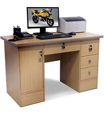 Computer Desk 4 Home Office Furniture PC Table Workstation With 3 Locks in Beech