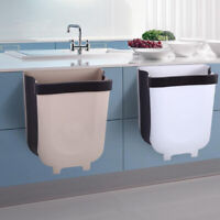 8L Wall Mounted Folding Waste Bin Kitchen Cabinets Door Hanging Trash Can B_AU