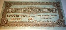 Federal Coupon Ticket Colonial Premier Lamp Advertisement! Edison Electric Shop!