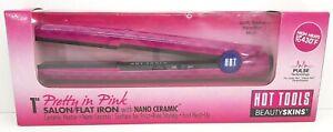 """Hot Tools Beauty Skins Pretty in Pink 1"""" Salon Flat Iron w/ Nano Ceramic HT5110F"""