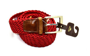 A8 NWT PETER MILLAR Red Braided Rayon Silvertone Buckle Belt Size L $98
