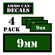 "9MM Ammo Can 4x 9MM Labels Ammunition Case 3""x1.15"" 9MM sticker decals 4 pack GR"