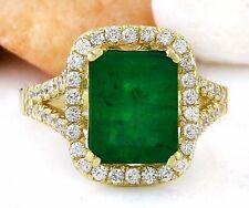 4.47 Carat Natural Emerald 14K Solid Yellow Gold Diamond Ring