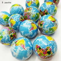 World Map Earth Globe Soft Squeeze Foam Ball Toy Hand Wrist Exercise Stress Cute