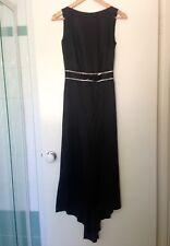 Morrissey Black Silk Evening Gown With Diamanté Bow Detail Scoop Back. Size 00