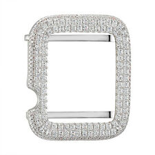 Princess Cut Apple Watch Bezel Iced Out Simulated Diamonds Sterling Silver 38mm