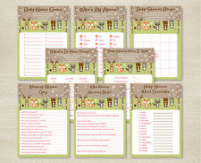 Pink Woodland Forest Animals Baby Shower Games Pack - 8 Printable Games