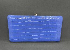 Vintage Perlina Indigo Blue Leather Clutch Wallet Gold Interior - Mint Condition