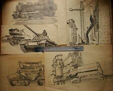 Russian Ukrainian Soviet 5 LOT drawing realism industrial painting locomotive