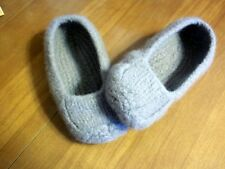 Handmade Felted Wool Grey Womens Shoes, Size 7 Comfort winter slippers, Duffer