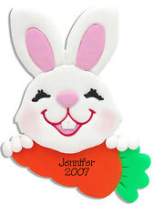 Personalized EASTER BUNNY Ornament Handmade Polymer Clay by Deb & Co.