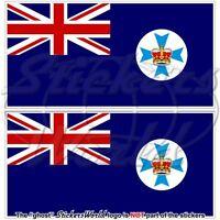 QUEENSLAND State Flag Australia QLD Australian Vinyl Stickers, Decals 75mm x2