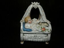 ANTIQUE CONTA BOEHME TRINKET BOX BABY IN CRADLE  CAT CURLED W/ SHIELD & # 3566