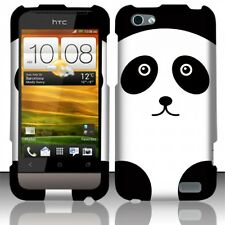 For Virgin Mobile HTC ONE V Rubberized HARD Case Snap On Phone Cover Panda