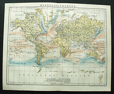 1893.Mappa Geo-Topografica TAVOLA CORRENTI MARINE MEL MONDO - MEERESSTROMUNGEN..